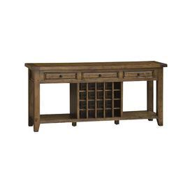 """3-drawer solid wood sideboard in antique pine with 2 open shelves and a 20-bottle wine rack.   Product: SideboardConstruction Material: Solid woodColor: Antique pineFeatures:  Nicks, knots, nail hole patches and seasoned cracks add character to each piece20 Bottle wine rackThree upper drawersTwo open shelves Dimensions: 33"""" H x 71"""" W x 18"""" D"""
