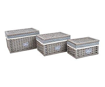 Set de 3 cestas en mimbre y poliéster - gris