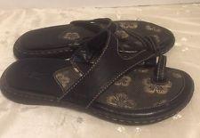 BOC Born  US 7/EU 38 Sandals Black Toe Ring Thong Flip Flops -Women
