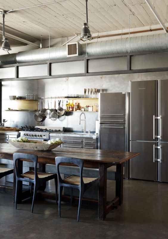 Modern Los Angeles loft kitchen renovation with stainless steel cabinets by  Fagor, Henry Hall Designs
