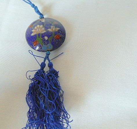 Vintage Chinese enamel pendent Necklace by houuseofwren on Etsy