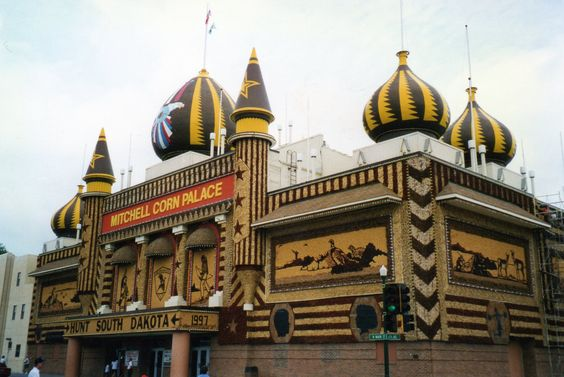 Mitchell, SD - Corn Palace. Each year the Corn Palace is decorated with a different theme using corn. Inside is a market featuring corn related objects.