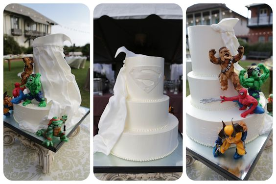 superhero wedding cake is this the coolest wedding cake ever maybe just maybe a rosemary. Black Bedroom Furniture Sets. Home Design Ideas