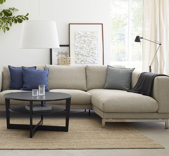 Ikea nockeby 3 sits soffa med sch slong samt ten ljusgr kl dsel home pinterest catalog - Bank beige ikea ...