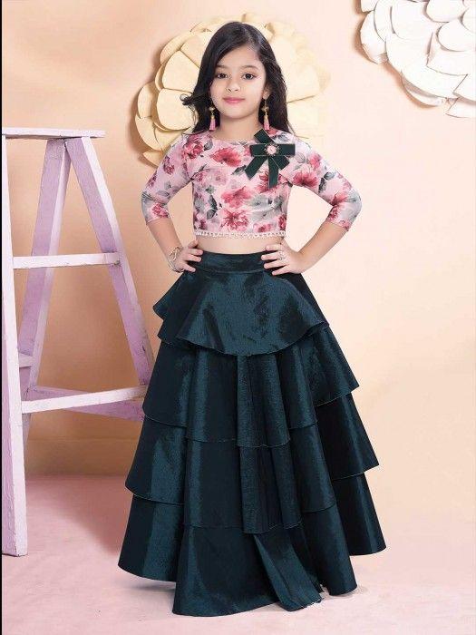 Pink And Rama Green Raw Silk Lehenga Choli Designer Girl S Lehenga Choli Latest Designer Lehenga Choli New Kids Designer Dresses Dresses Kids Girl Kids Gown