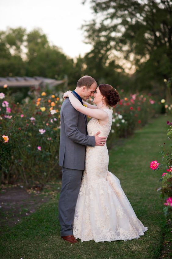 Bride and Groom portraits in the Rose Garden at Norfolk Botanical Garden Wedding
