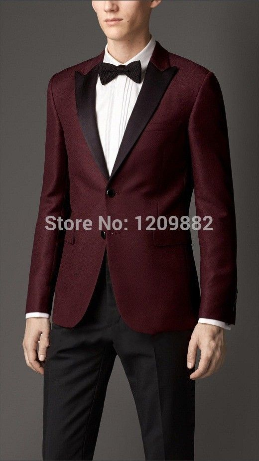Levi Ackerman's Suit - 2015 men's fashion dark red Peak Lapel