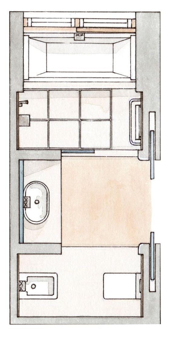 Baño Medidas Minimas:Con ducha y bañera en poco más de 7m2 · ElMueblecom · Cocinas y