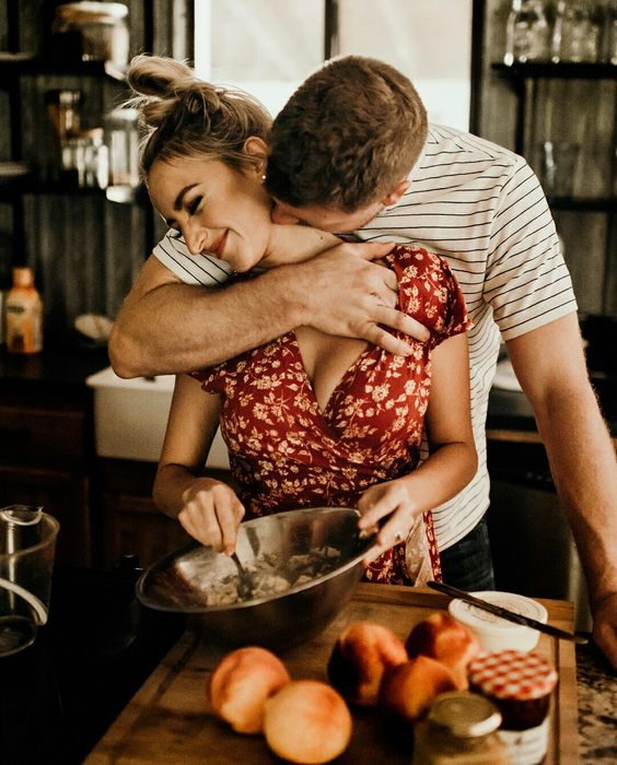 Romantic moment in the kitchen!