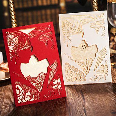 Bride & Groom Estilo Art Papel Side casamento Fold Convite-conjunto de 50 (mais cores) – BRL R$ 162,31