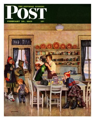 """""""GETTING READY FOR SCHOOL,"""" SATURDAY EVENING POST COVER, FEBRUARY 26, 1949 By John Falter"""