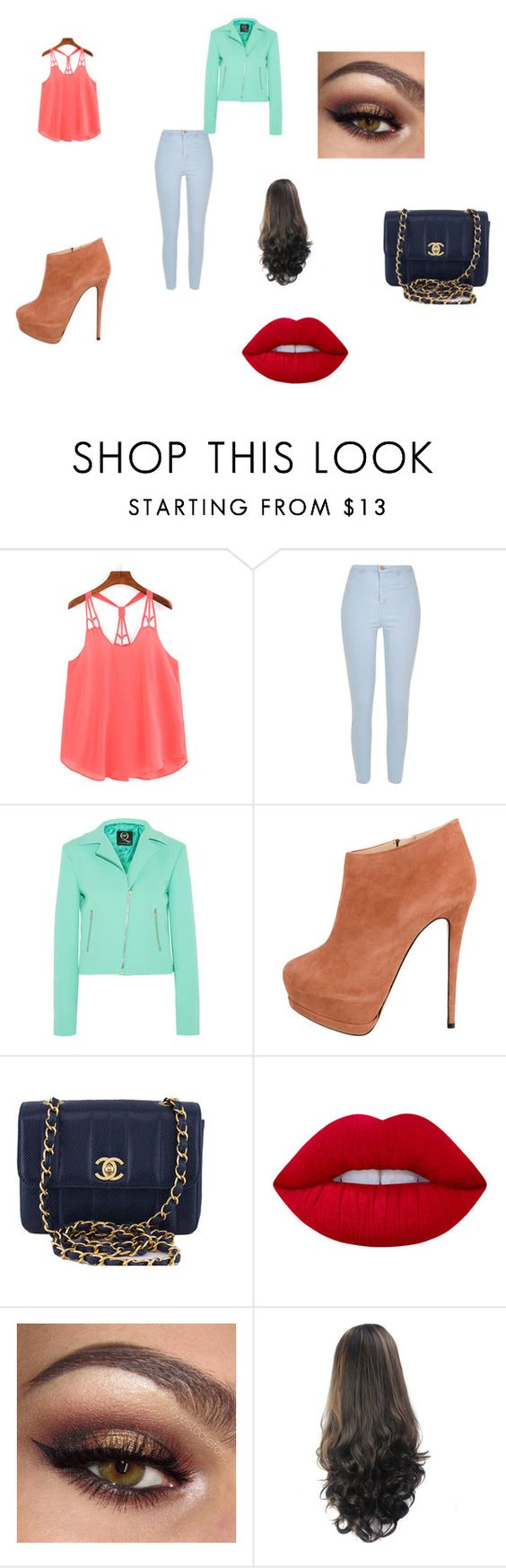 """City look"" by morgan-is-my-favorite ❤ liked on Polyvore featuring River Island, McQ by Alexander McQueen, Giuseppe Zanotti, Chanel and Lime Crime"