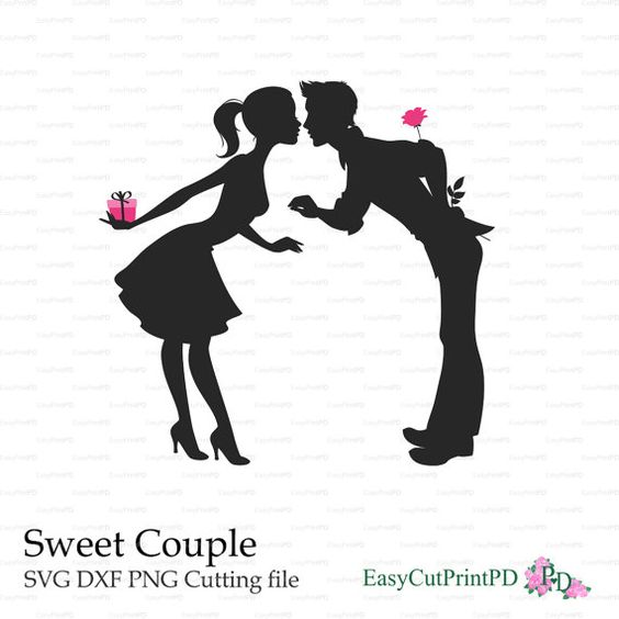 valentines overlays silhouette cameo paper couple love silhouette ...