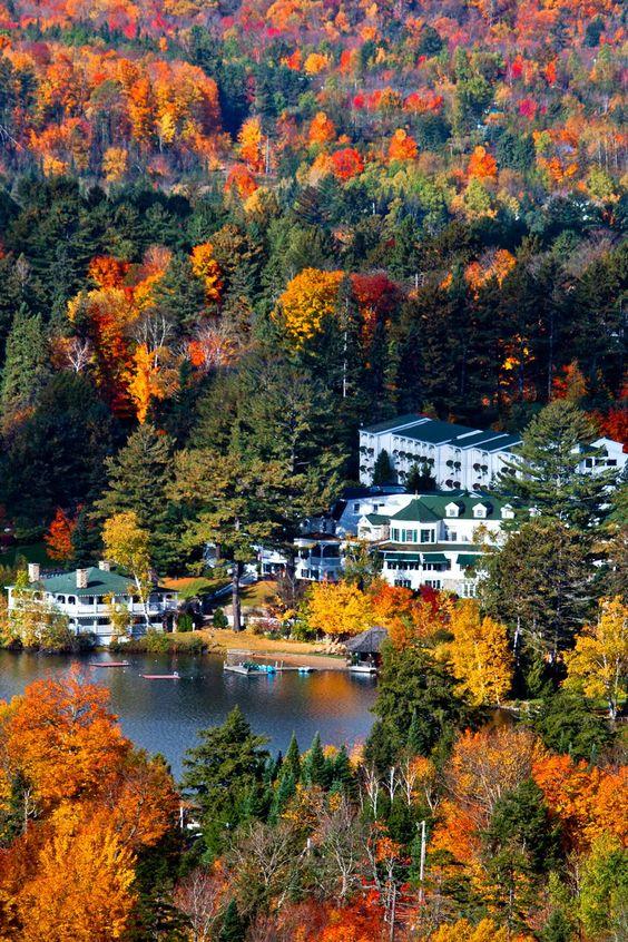 Mirror Lake Inn in the Adirondacks...Lake Placid, New York, would make a colorful romantic getaway in the fall.
