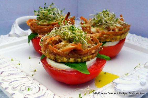 'Spicy Pasta Tartlet Bruschetta'    Want something impressive and, oh, so unique for a summer grilling cookout, a light lunch, or even breakfast!      www.allyskitchen.com