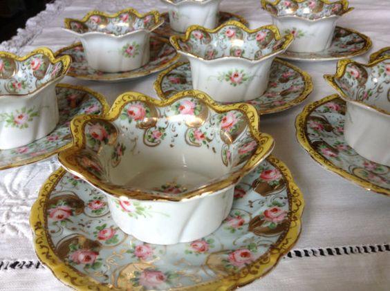 Antique Austrian Hand Painted Ramekins with Under Plates, Set of 8