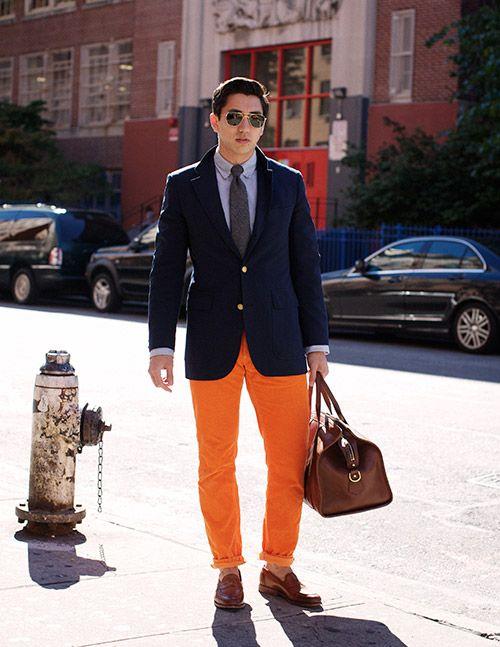 Edwin Hu—burnt orange trousers with dark blue jacket. | Men's ...