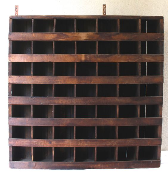 Fantastic large antique wall cubby - divided storage. Vintage French caned chair Vintage American Home.com