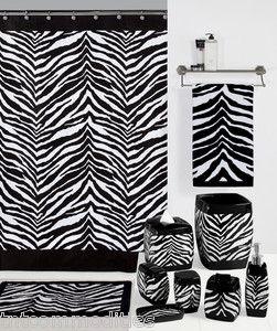 Safari Black & White Zebra Print Bath Accessories Bathroom Collection ~ Choice