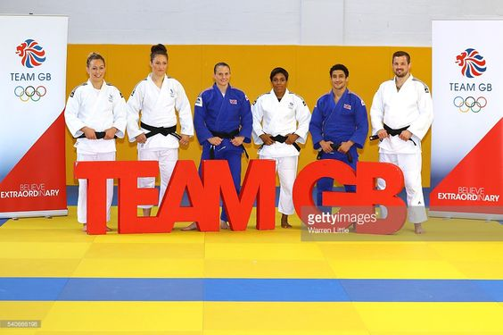 Sally Conway, Natalie Powell, Alice Schlesinger, Nekoda Smythe-Davis, Ashley McKenzie and Colin Oates of Great Britain pose for a picture during an announcement of judo athletes named in Team GB for the Rio 2016 Olympic Games at British Judo Centre of Excellence on June 16, 2016 in Walsall, England.