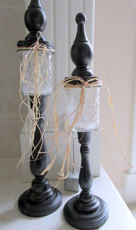 Medium Black Mason Jar Candlestick or Candy Jar Inspired by Pinterest. $18.00, via Etsy.  We LOVE Holly's Stuff!