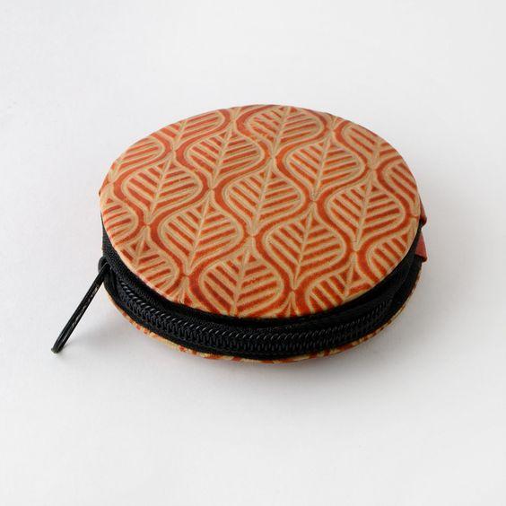 porte monnaie orange ethnique en cuir coloré