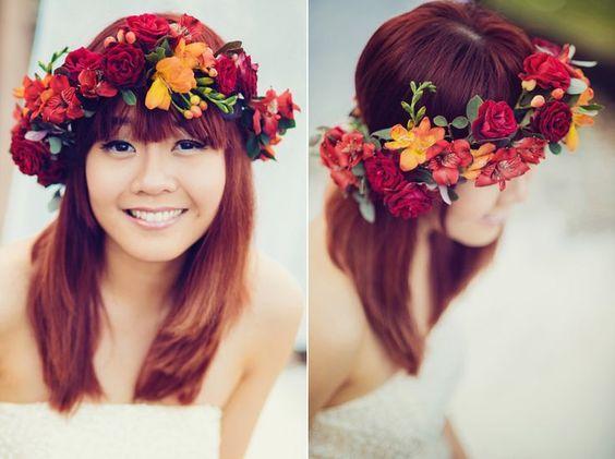 coroncina sposa fiori borgona