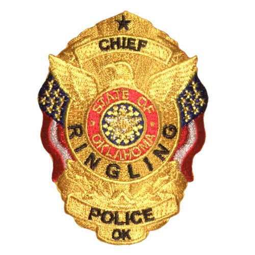 Us State Of Oklahoma City Of Ringling Police Department Cloth Chief Badge Police Badge Police Department Police