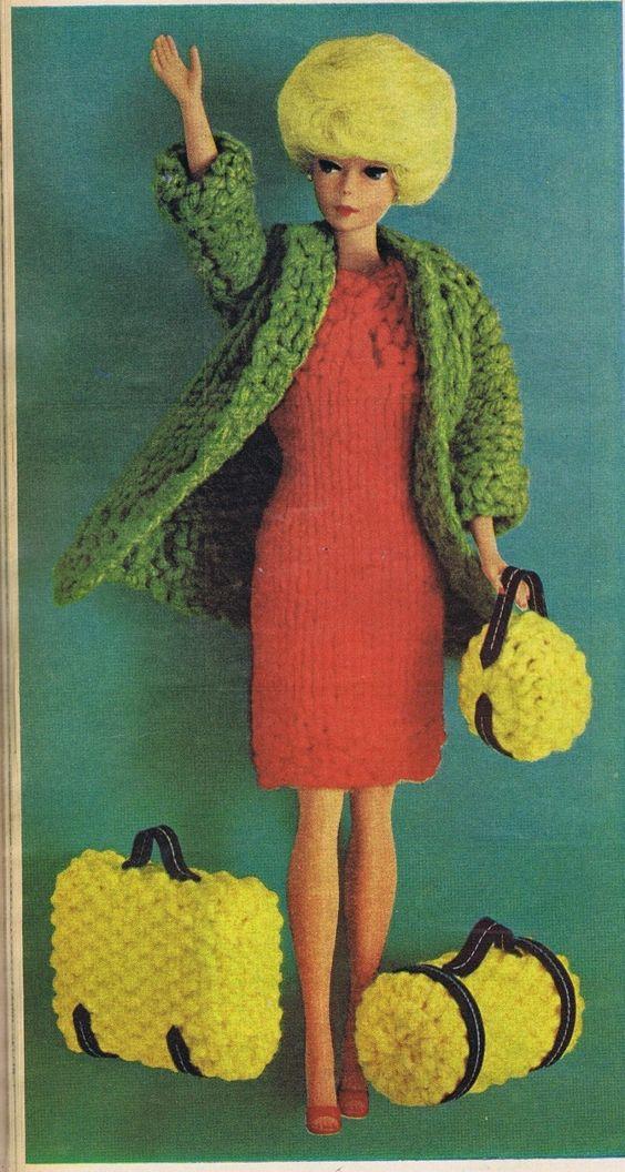 VINTAGE KNITTING CROCHET PATTERNS 1960s RIBBON DRESS BLOUSE FASHION DOLL CLOTHES   eBay