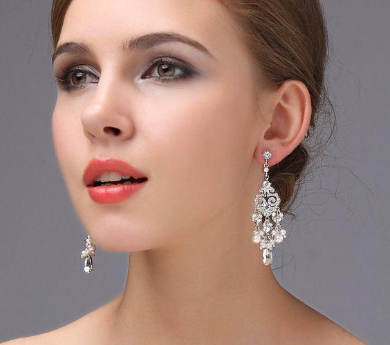 Bridal Jewelry Chandelier Wedding Earrings White by adriajewelry