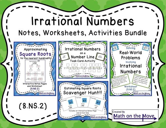 Irrational Numbers Bundle Notes Worksheets and Activities 8NS – Math Worksheets Rational Numbers