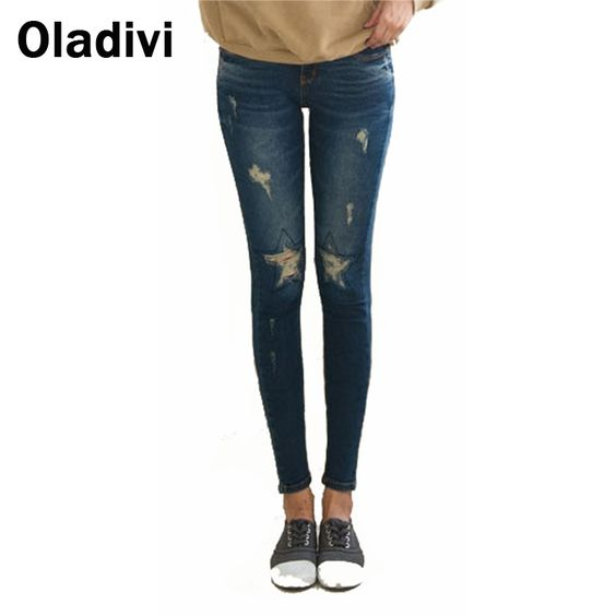 Find More Jeans Information about 32 40 Plus Size Hole Designer Women's Jean Pants 2015 Spring Trend Washed Ripped Denim Skinny Jeans Feminina Long Trousers Blue,High Quality trouser dress,China jeans look Suppliers, Cheap jeans wear for women from Oladivi Group - Minabell Fashion Store on Aliexpress.com