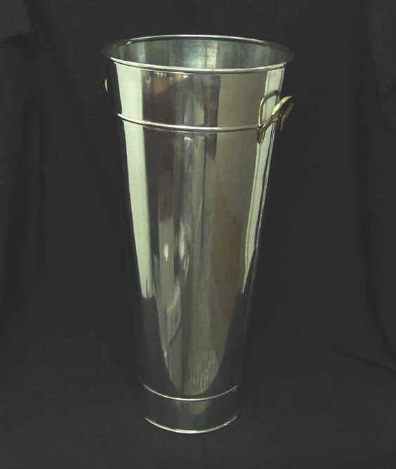 24 inch tall galvanized silver flower bucket w brass for Large galvanized buckets for flowers