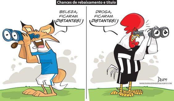 Charge do Dum (Zona do Agrião) sobre a situação de Cruzeiro e Atlético no Brasileirão (11/10/2016) #Charge #Dum #América #Coelho #Brasileirão #CampeonatoBrasileiro #HojeEmDia