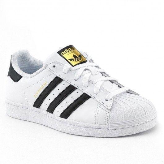 adidas superstar black stripe white