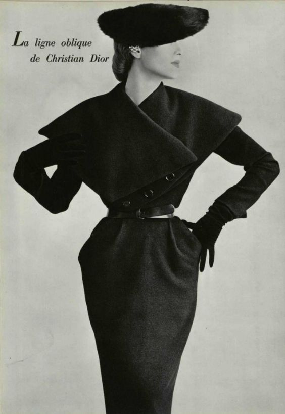 1950 Christian Dior, I love the older christian Dior outerwear lines, you see alot of asymmetrical simple classic designs: