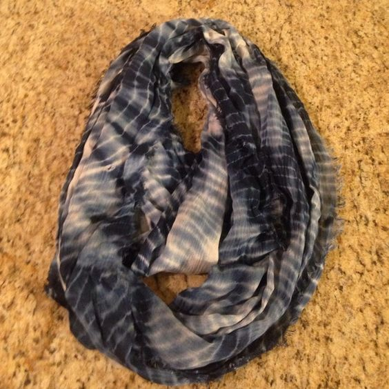 Urban Outfitters Ecote tie-dye eternity scarf Selling a super cute navy blue, light blue and white tie-dye eternity scarf. I have only worn it one time. Urban Outfitters Accessories Scarves & Wraps