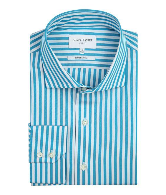 Slim Fit Turquoise Stripes Poplin Dress Shirt Aqua Blue