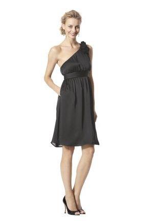Black one shoulder bridesmaid gown