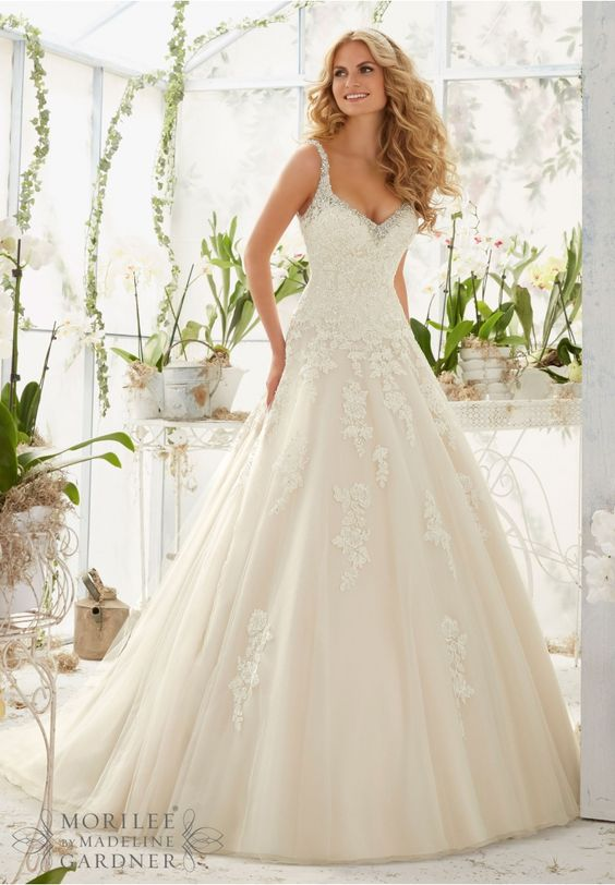 Wedding Dress 2811 Crystal Beaded Edging Meets the Alencon Lace Appliques on the Tulle Ball Gown