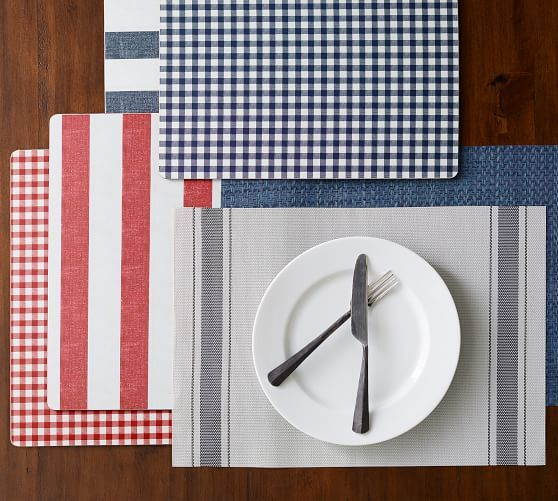 Easy Care Placemat Set Of 4 Charcoal French Stripe Potterybarn Placemats Woven Placemats Gingham Napkins