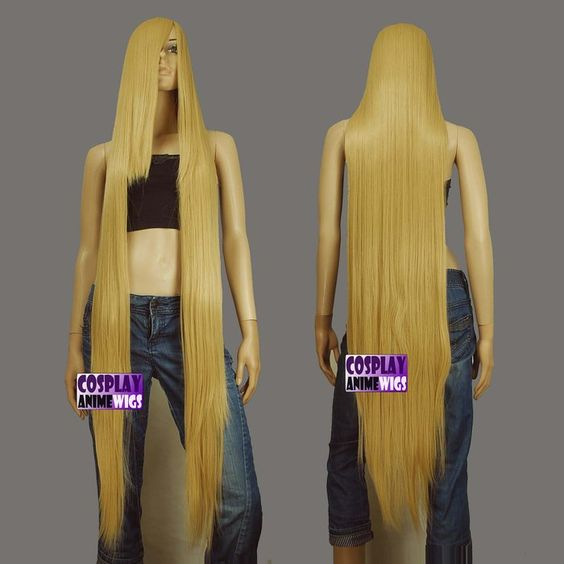 50 Inch Heat Styable Wigs Extra Long Bang Beige Blonde Cosplay (99086) $32.99
