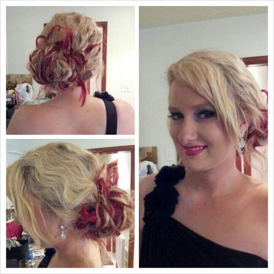 Funky red messy bridesmaid do.