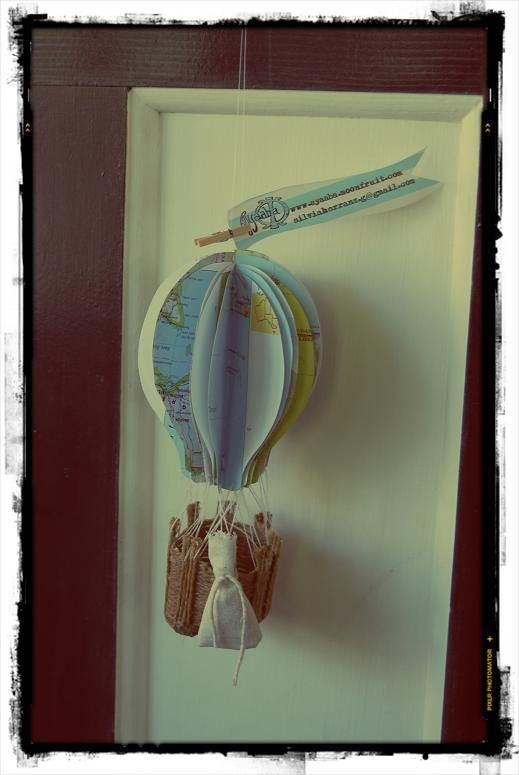 Hot Air balloon decoration made from old maps and rope