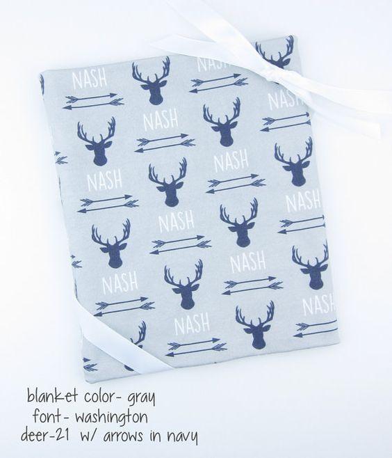 Baby Blanket Deer Antlers Arrows // Personalized by GingerLous