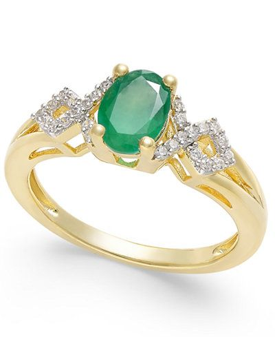 Emerald (5/8 ct. t.w.) and Diamond (1/8 ct. t.w.) Ring in 14k Gold - Rings - Jewelry & Watches - Macy's
