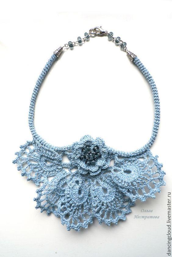 Купить Вязаное украшение Снежинка - голубой, вязаное голубое украшение, вязаное…