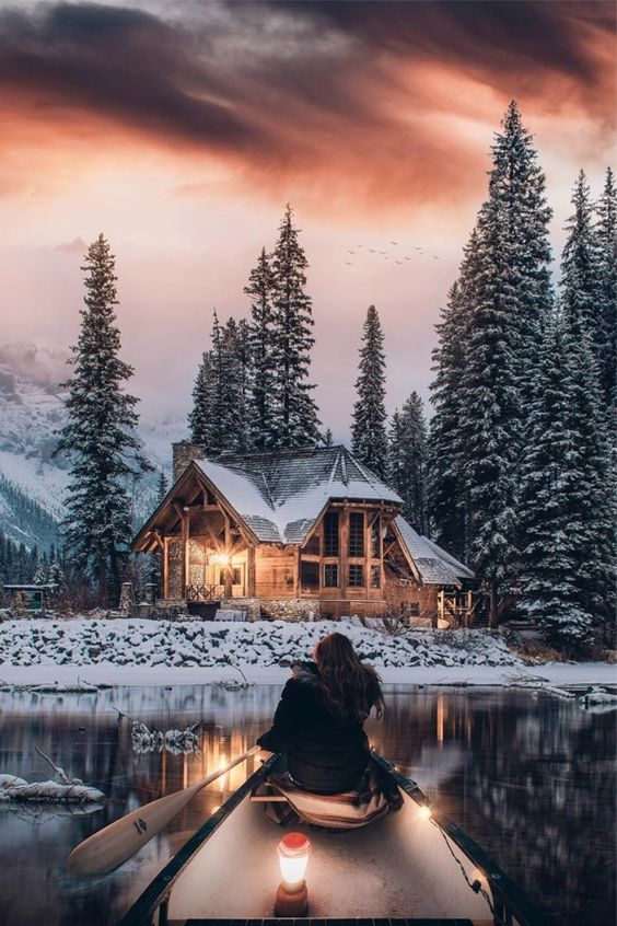 How crazy is this winter cabin? Nothing cooler than paddling out to get there