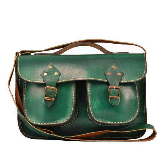 Green Leather Bag ,Messenger Bag ,Purse ,ipad Bag ,crossbody ,gift ...