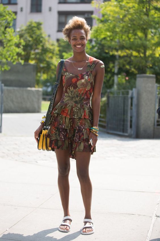 Pin for Later: 43 Chic Summer Outfits That Are Perfect For 30-Somethings A printed tiered dress